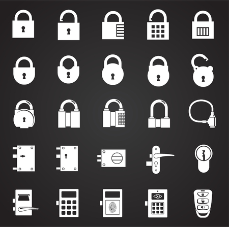 Lock icons set on black background for graphic and web design, Modern simple vector sign. Internet concept. Trendy symbol for website design web button or mobile app Illustration