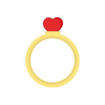 Valentinstag-Ringsymbol auf weißem Hintergrund für Grafik- und Webdesign, modernes einfaches Vektorzeichen. Internet-Konzept. Trendiges Symbol für Website-Design-Web-Button oder Handy