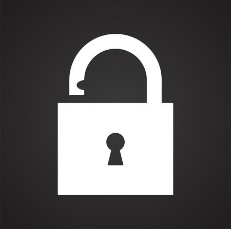 Icono de candado sobre fondo negro para diseño gráfico y web sencillo, moderno, signo de vectores. Concepto de internet. Símbolo de moda para el botón web de diseño de sitios web o aplicaciones móviles Ilustración de vector