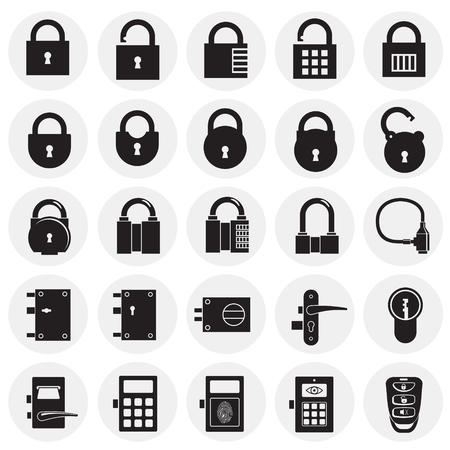 Lock icons set on circles background for graphic and web design, Modern simple vector sign. Internet concept. Trendy symbol for website design web button or mobile app