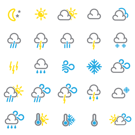 Weather forecast color icons set on white background for graphic and web design, Modern simple vector sign. Internet concept. Trendy symbol for website design web button or mobile app