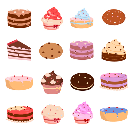 Cakes and bakery icons set on white background for graphic and web design, Modern simple vector sign. Internet concept. Trendy symbol for website design web button or mobile app