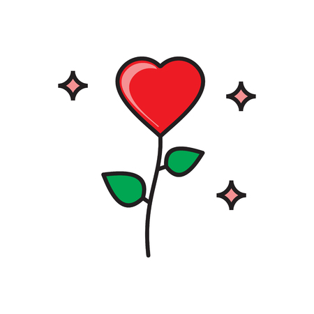 Valentines day flower icon on white background for graphic and web design, Modern simple vector sign. Internet concept. Trendy symbol for website design web button or mobile