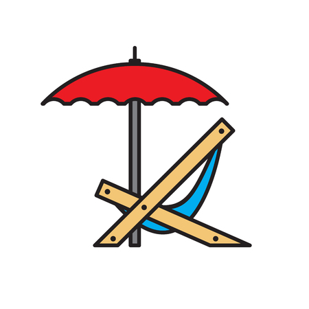 Chair with umbrella color outline icon on white background for graphic and web design, Modern simple vector sign. Internet concept. Trendy symbol for website design web button or mobile app 向量圖像
