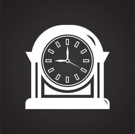 Time icon on black background for graphic and web design, Modern simple vector sign. Internet concept. Trendy symbol for website design web button or mobile app Stock Photo