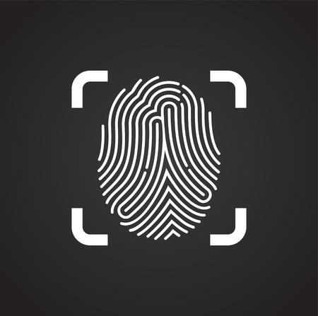 Icono de identificación de dedo sobre fondo negro para diseño gráfico y web sencillo, moderno, signo de vectores. Concepto de internet. Símbolo de moda para el botón web de diseño de sitios web o aplicaciones móviles Ilustración de vector