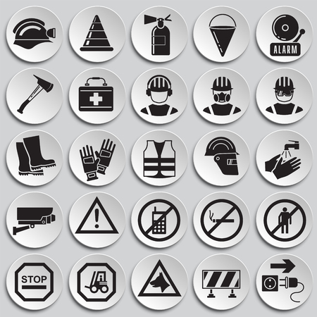 Safety icons on plates background for graphic and web design, Modern simple vector sign. Internet concept. Trendy symbol for website design web button or mobile  イラスト・ベクター素材