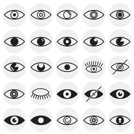 Eye icons set on circles background for graphic and web design, Modern simple vector sign. Internet concept. Trendy symbol for website design web button or mobile app