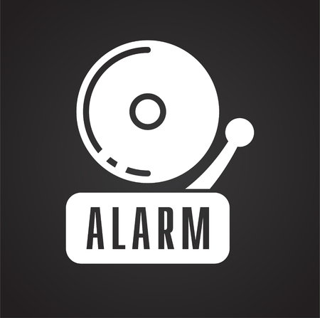 Safety fire alarm icon on black background for graphic and web design, Modern simple vector sign. Internet concept. Trendy symbol for website design web button or mobile Иллюстрация