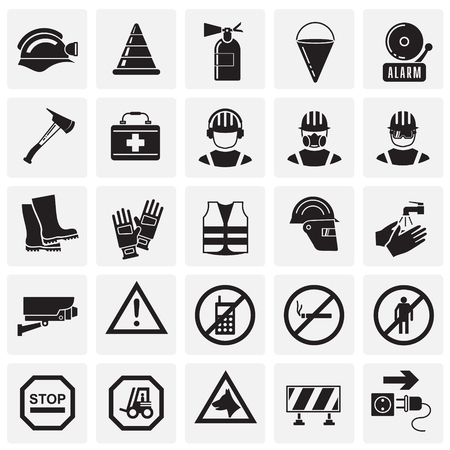 Safety icons on squares background for graphic and web design, Modern simple vector sign. Internet concept. Trendy symbol for website design web button or mobile  イラスト・ベクター素材