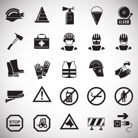 Safety icons on white background for graphic and web design, Modern simple vector sign. Internet concept. Trendy symbol for website design web button or mobile