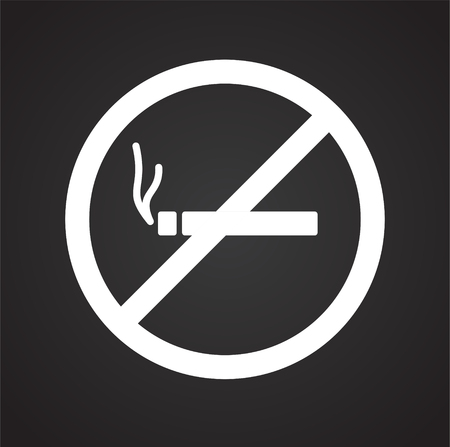 No smoking icon on black background for graphic and web design, Modern simple vector sign. Internet concept. Trendy symbol for website design web button or mobile Illusztráció