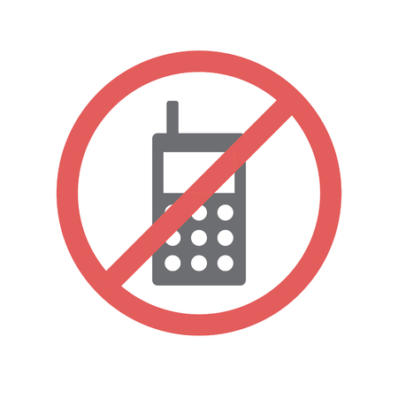 No cellphone allowed icon on white background for graphic and web design, Modern simple vector sign. Internet concept. Trendy symbol for website design web button or mobile Stock Photo