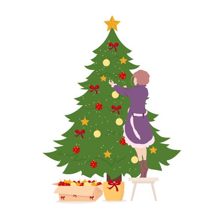 Girl decorates christmas tree on white background for graphic and web design, Modern simple vector sign. Internet concept. Trendy symbol for website design web button or mobile app