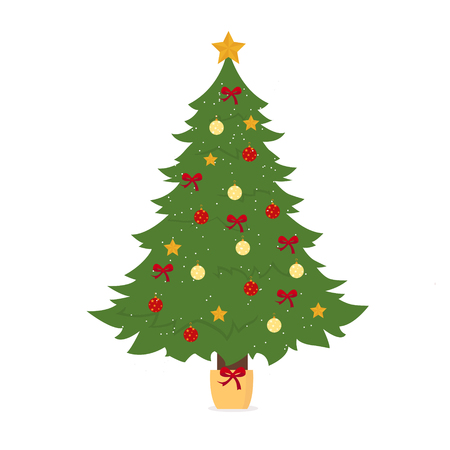 Christmas tree decorated on white background for graphic and web design, Modern simple vector sign. Internet concept. Trendy symbol for website design web button or mobile app