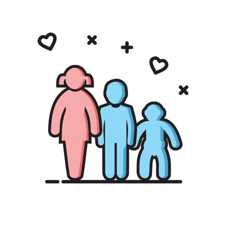 I bambini delineano l'icona a colori su sfondo bianco per grafica e web design, moderno vettore semplice segno. Concetto di Internet. Simbolo alla moda per il pulsante web di progettazione di siti Web o l'app mobile