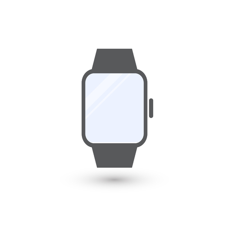 Minimalistic blue screen smart watch . Electronic gadget isolated on white background for graphic and web design, Modern simple vector sign. Internet concept. Trendy symbol for website design web button or mobile app Ilustração