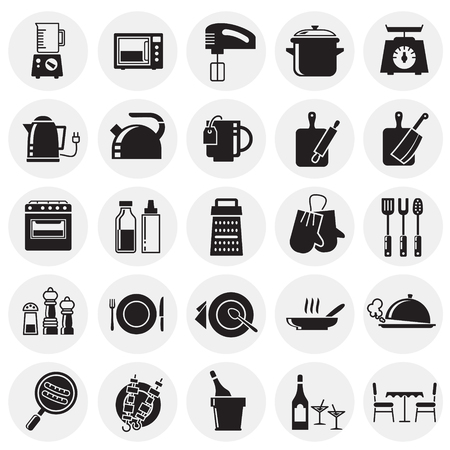Kitchen icons set on circles background for graphic and web design, Modern simple vector sign. Internet concept. Trendy symbol for website design web button or mobile app Ilustração