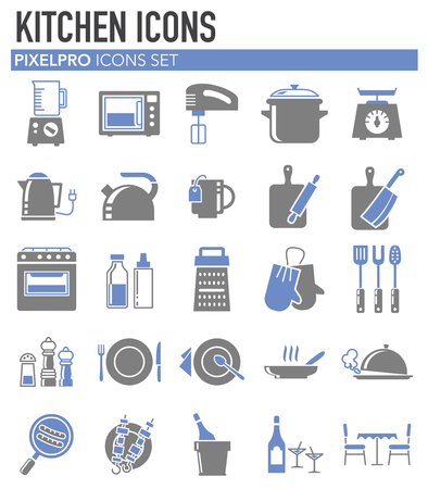 Kitchen grey blue icons set on white background for graphic and web design, Modern simple vector sign. Internet concept. Trendy symbol for website design web button or mobile app