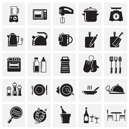 Kitchen icons set on squares background for graphic and web design, Modern simple vector sign. Internet concept. Trendy symbol for website design web button or mobile app