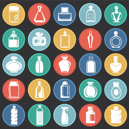 Bottle icons set on color circles black background for graphic and web design, Modern simple vector sign. Internet concept. Trendy symbol for website design web button or mobile app