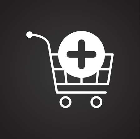 Online shopping cart add icon on black background for graphic and web design, Modern simple vector sign. Internet concept. Trendy symbol for website design web button or mobile app