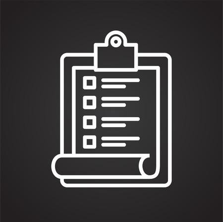 Icono de lista de compras en línea sobre fondo negro para diseño gráfico y web sencillo, moderno, signo de vectores. Concepto de internet. Símbolo de moda para el botón web de diseño de sitios web o aplicaciones móviles