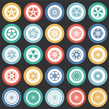 Wheel icons set on color circles black background for graphic and web design, Modern simple vector sign. Internet concept. Trendy symbol for website design web button or mobile app Illustration