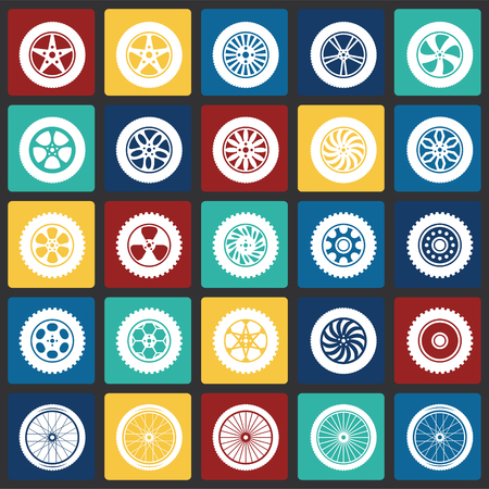 Wheel icons set on color squares background for graphic and web design, Modern simple vector sign. Internet concept. Trendy symbol for website design web button or mobile app