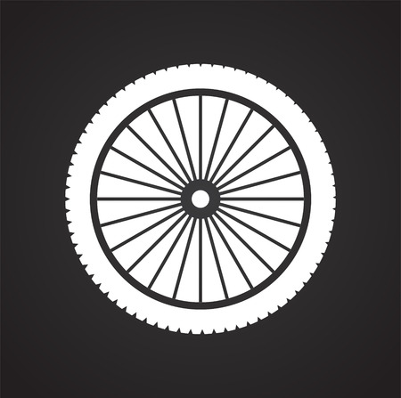 Wheel icon on black background for graphic and web design, Modern simple vector sign. Internet concept. Trendy symbol for website design web button or mobile app Stock Illustratie