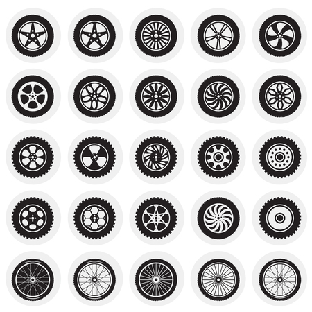 Wheel icons set on circles background for graphic and web design, Modern simple vector sign. Internet concept. Trendy symbol for website design web button or mobile app