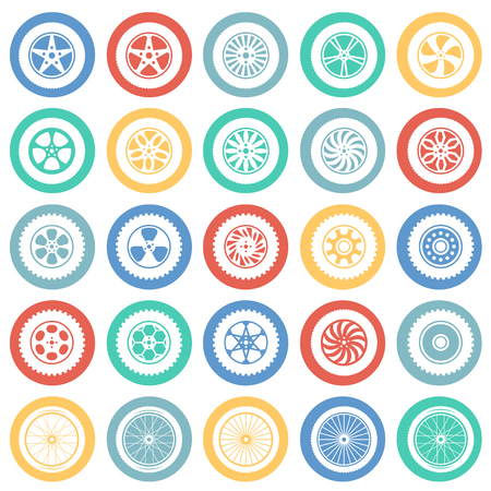 Wheel icons set on color circles white background for graphic and web design, Modern simple vector sign. Internet concept. Trendy symbol for website design web button or mobile app