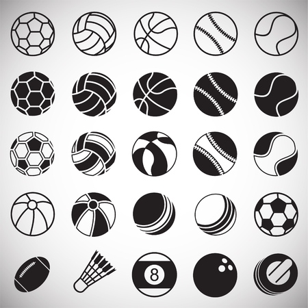 Sport ball icons set on white background for graphic and web design, Modern simple vector sign. Internet concept. Trendy symbol for website design web button or mobile app Stockfoto