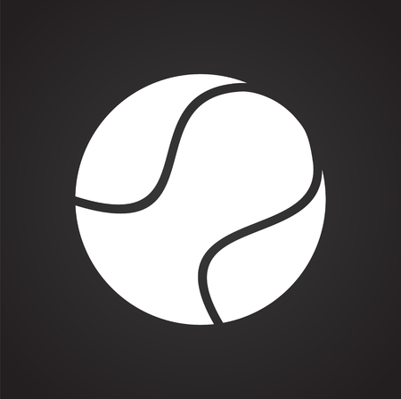 Tennis ball icon on black background for graphic and web design, Modern simple vector sign. Internet concept. Trendy symbol for website design web button or mobile app 写真素材