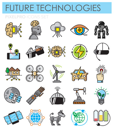 Future technologies outlin color icons set on white background for graphic and web design, Modern simple vector sign. Internet concept. Trendy symbol for website design web button or mobile app