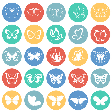 Butterfly icons set on color circles background for graphic and web design, Modern simple vector sign. Internet concept. Trendy symbol for website design web button or mobile app