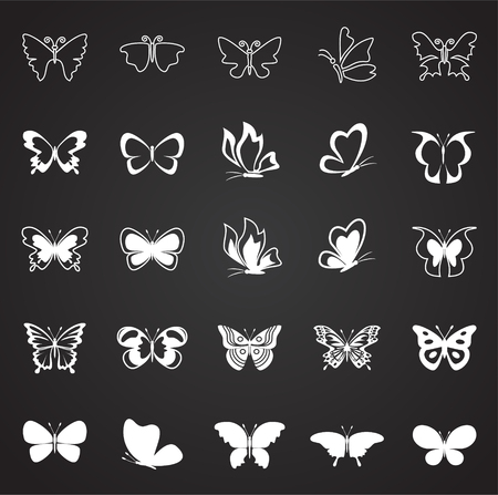 Butterfly icons set on black background for graphic and web design, Modern simple vector sign. Internet concept. Trendy symbol for website design web button or mobile app