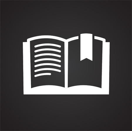 Book learning icon on black background for graphic and web design, Modern simple vector sign. Internet concept. Trendy symbol for website design web button or mobile app