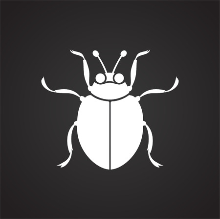 Bug Insect icon on black background for graphic and web design, Modern simple vector sign. Internet concept. Trendy symbol for website design web button or mobile app Vettoriali