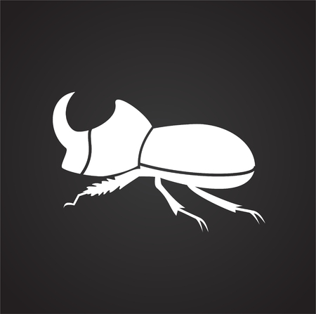 Rhino bug Insect icon on black background for graphic and web design, Modern simple vector sign. Internet concept. Trendy symbol for website design web button or mobile app