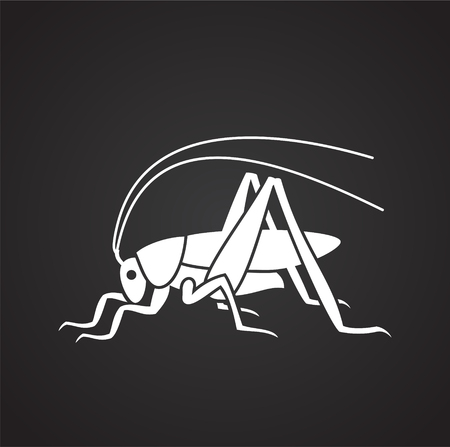 Grasshopper Insect icon on black background for graphic and web design, Modern simple vector sign. Internet concept. Trendy symbol for website design web button or mobile app