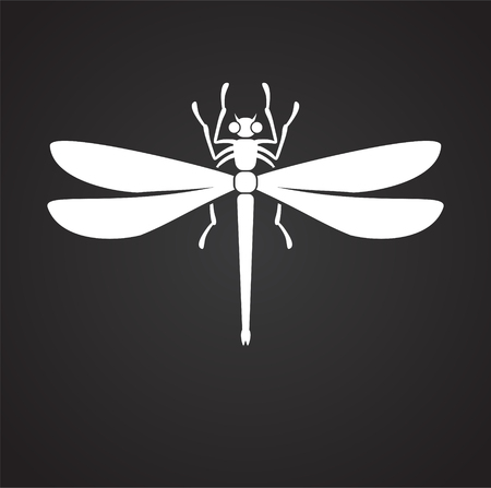 Dragonfly Insect icon on black background for graphic and web design, Modern simple vector sign. Internet concept. Trendy symbol for website design web button or mobile app Standard-Bild