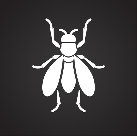 Fly Insect icon on black background for graphic and web design, Modern simple vector sign. Internet concept. Trendy symbol for website design web button or mobile app Stock Photo
