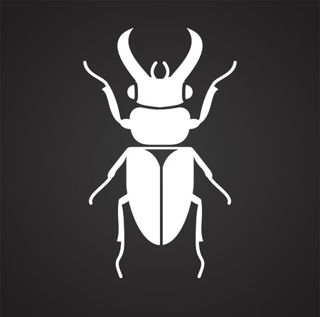 Bug Insect icon on black background for graphic and web design, Modern simple vector sign. Internet concept. Trendy symbol for website design web button or mobile app Standard-Bild