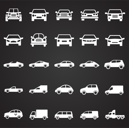 Automobile icons set on black background for graphic and web design, Modern simple vector sign. Internet concept. Trendy symbol for website design web button or mobile app