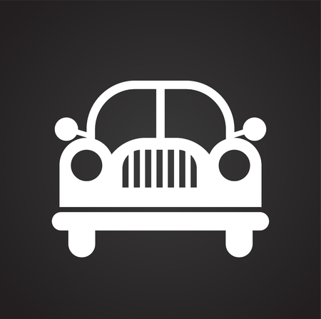 Automobile icon on black background for graphic and web design, Modern simple vector sign. Internet concept. Trendy symbol for website design web button or mobile app