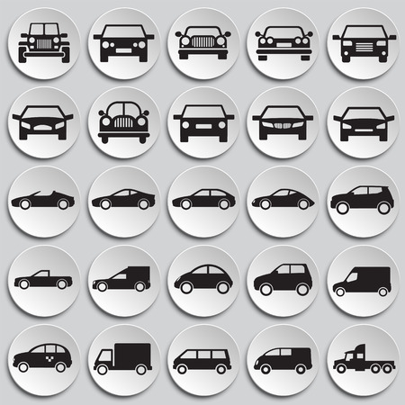 Automobile icons set on plates background for graphic and web design, Modern simple vector sign. Internet concept. Trendy symbol for website design web button or mobile app