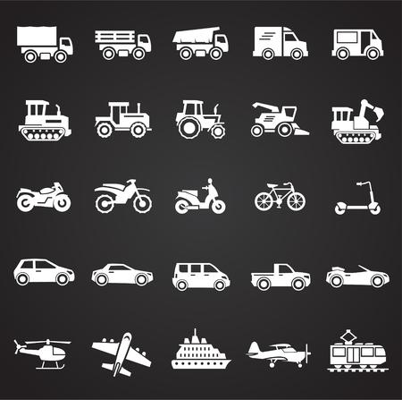 Transportation icons set on black background for graphic and web design, Modern simple vector sign. Internet concept. Trendy symbol for website design web button or mobile app Banco de Imagens