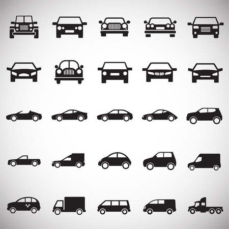 Automobile icons set on white background for graphic and web design, Modern simple vector sign. Internet concept. Trendy symbol for website design web button or mobile app Stockfoto
