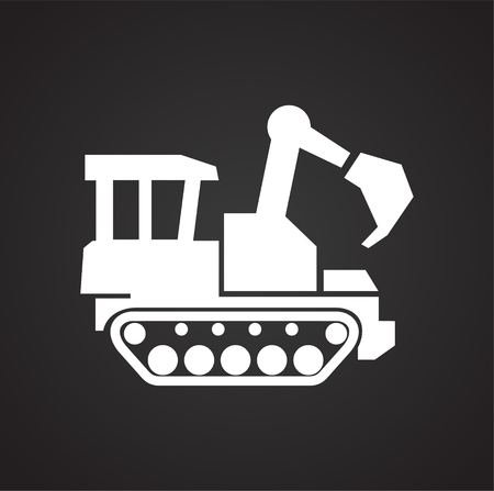 Dozer icon on black background for graphic and web design, Modern simple vector sign. Internet concept. Trendy symbol for website design web button or mobile app